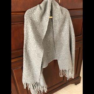 AQUA gray wrap with fringe